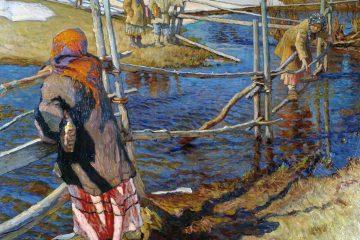 Николай Богданов-Бельский (1868-1945). Переправа. 1915. Латвийский национальный художественный музей, Рига. Источник http://www.art-catalog.ru/