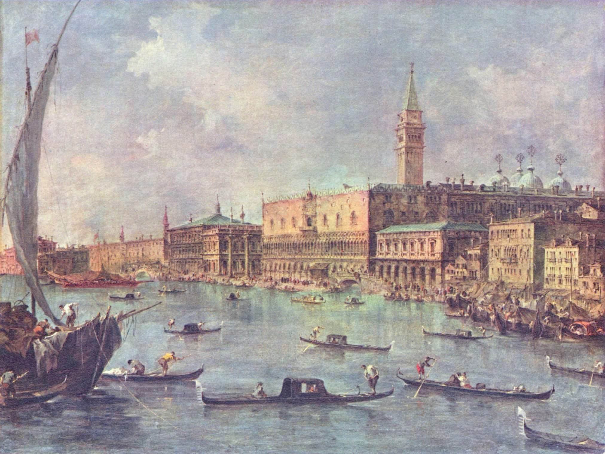 Франческо Гварди (1712-1793). Дворец дожей в Венеции. Вторая половина XVIII века. Масло, холст. 58х76 см. Национальная галерея, Лондон, Великобритания. Источник https://upload.wikimedia.org/
