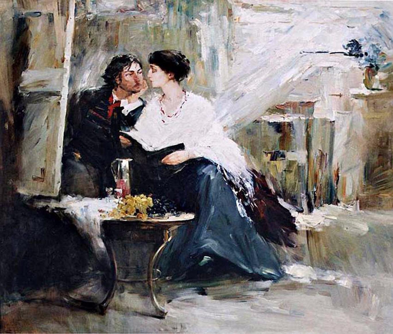 Наталия Третьякова. Ахматова и Модиляни у незаконченного портрета. Источник http://b1.culture.ru/