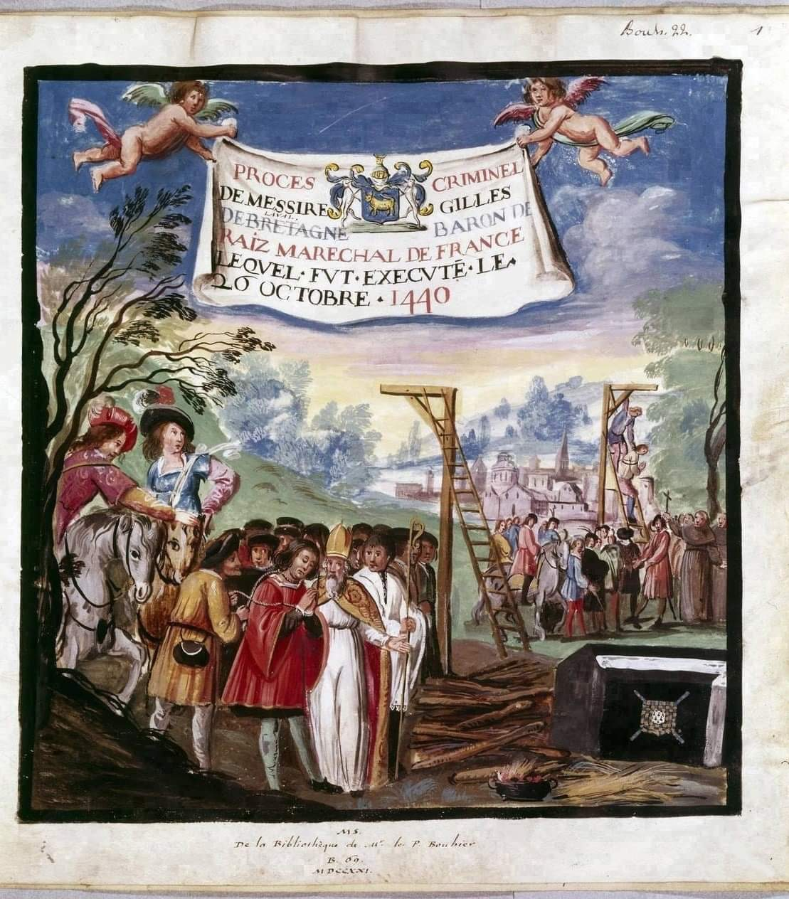 Казнь Жиля де Ре. Книжная миниатюра. Около1530 года. Национальная библиотека Франции.Париж.  Источник иллюстрации: Викимедиа